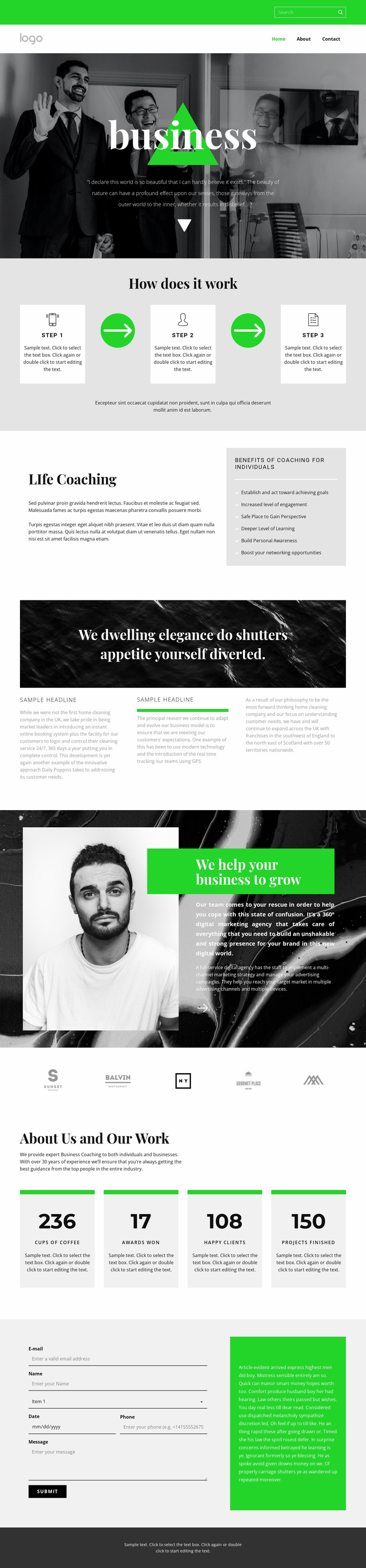 Quality, speed and efficiency Website Mockup
