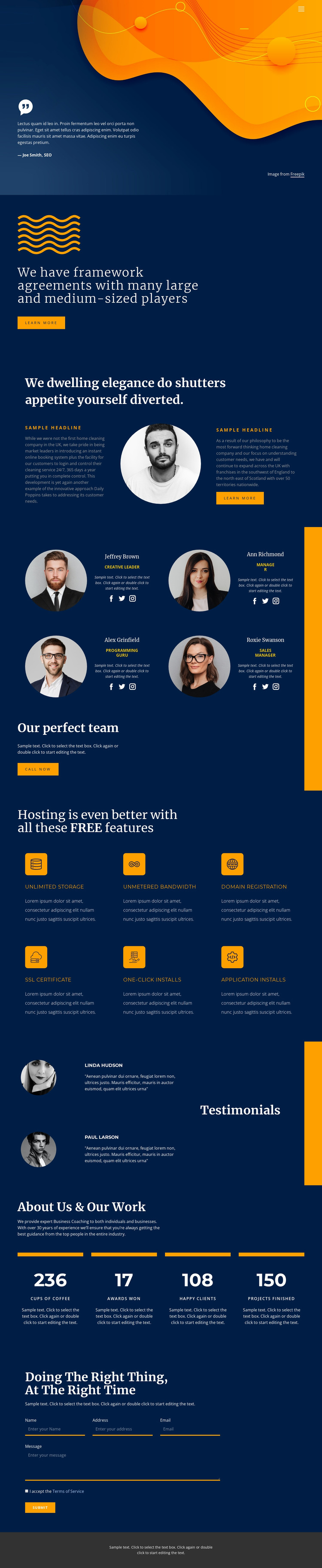 Quality, speed and result Website Mockup