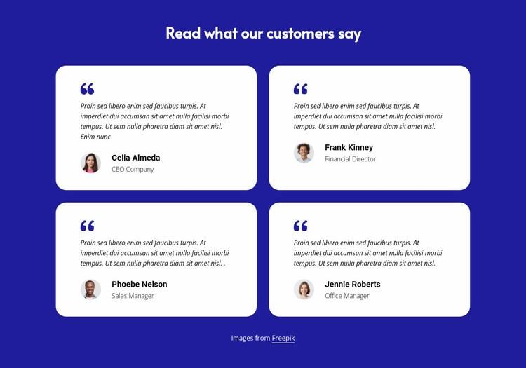 Customer testimonials block Web Page Designer