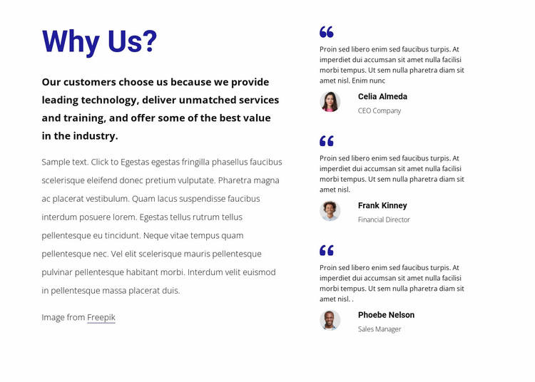 Hear what our customers say Website Builder Templates