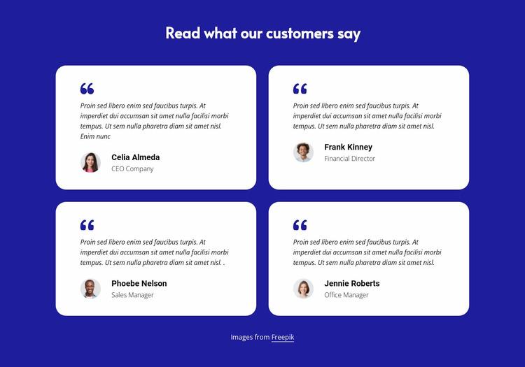 Customer testimonials block WordPress Website Builder