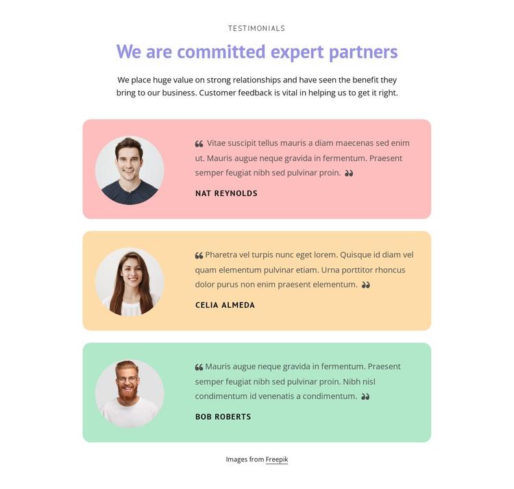 Great testimonials Web Design