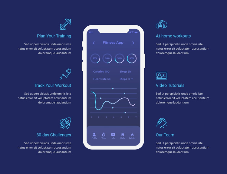 Workout app for tracking Website Template