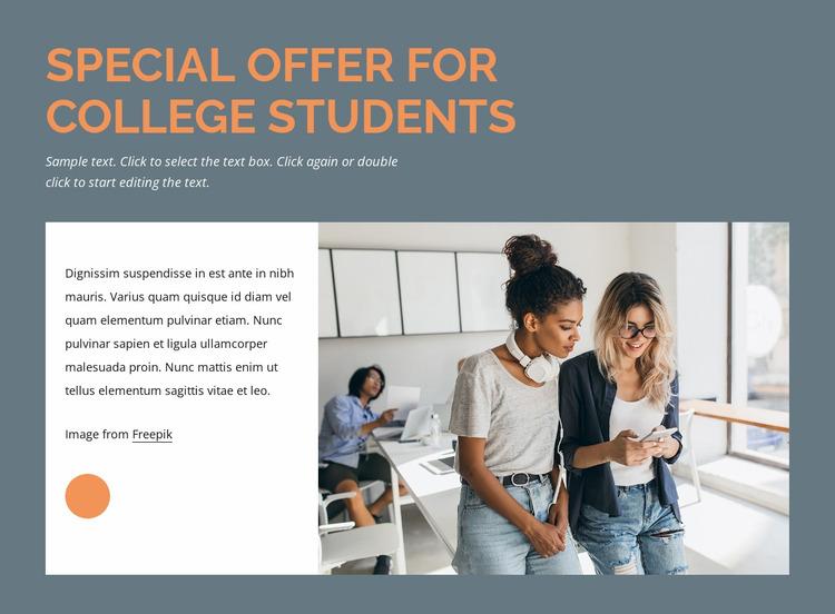 Special offer for students Website Mockup