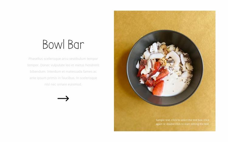 Bowl bar Website Mockup