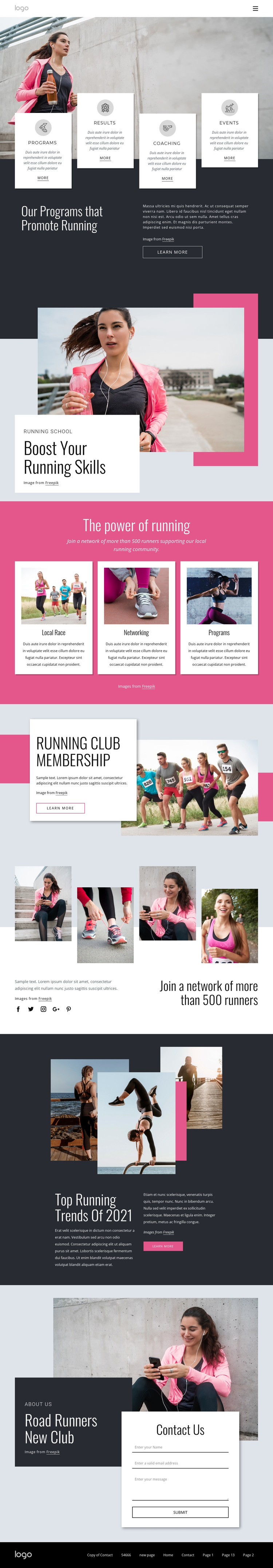 Running and walking community HTML Template