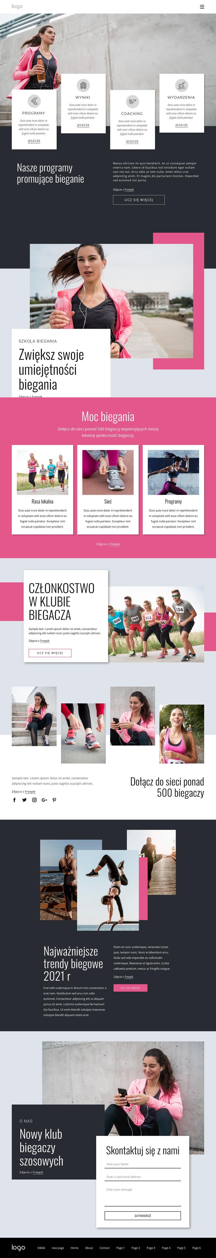 Społeczność biegaczy i spacerowiczów Szablon witryny sieci Web