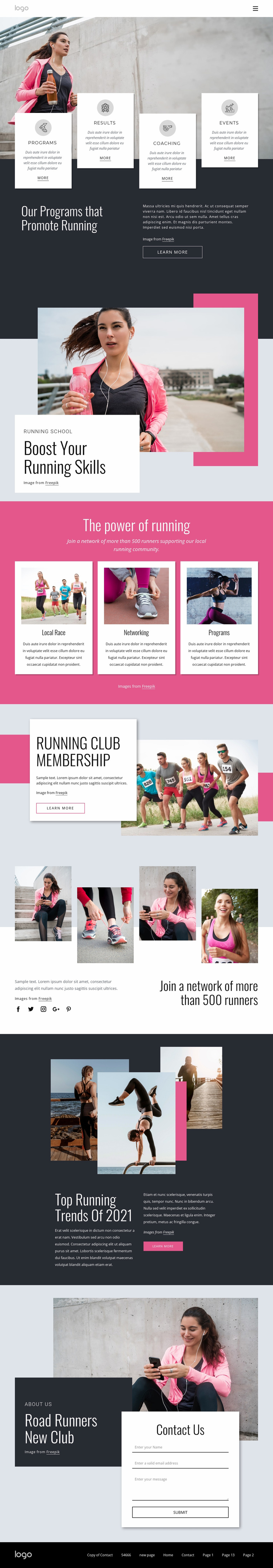 Running and walking community Website Template