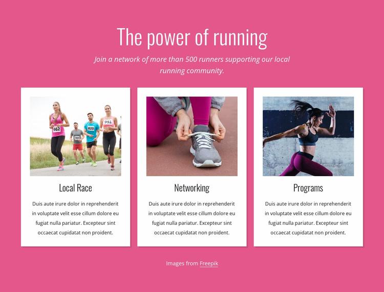 The power of running Website Template