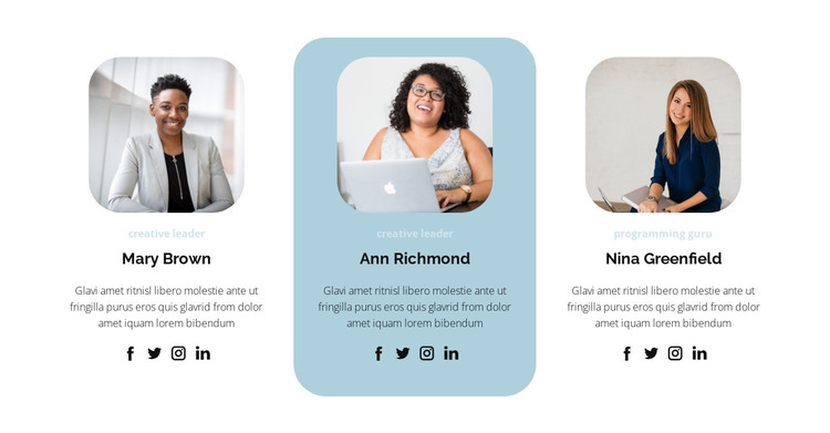 Three people from the team HTML Template