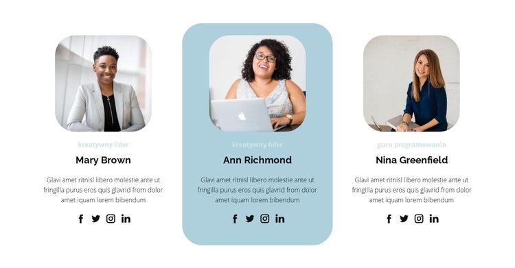 Trzy osoby z zespołu Szablon witryny sieci Web
