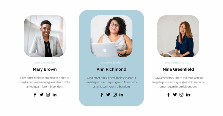 Three people from the team Website Template