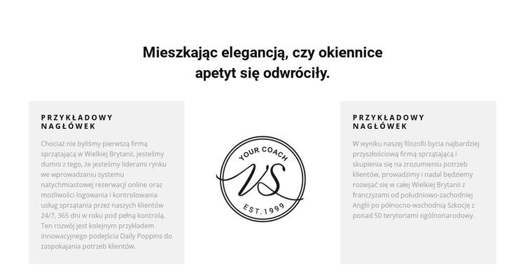 Dwie kolumny tekstu i logo Szablon witryny sieci Web