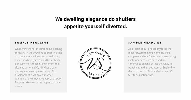 Two text columns and logo Website Design