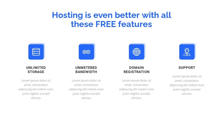 4 hosting features CSS Template