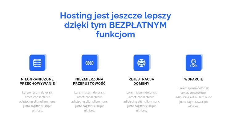 4 funkcje hostingu Szablon witryny sieci Web