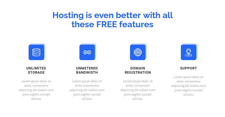 4 hosting features Website Mockup