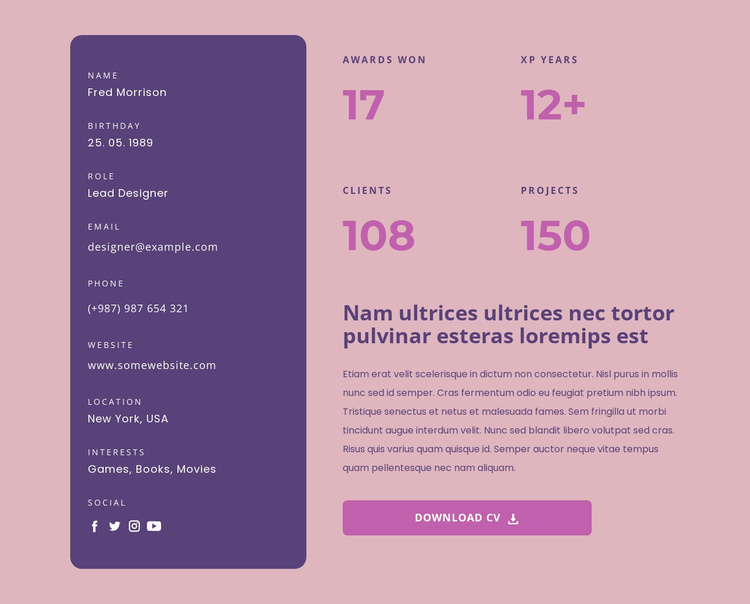 My skills and resume Website Template