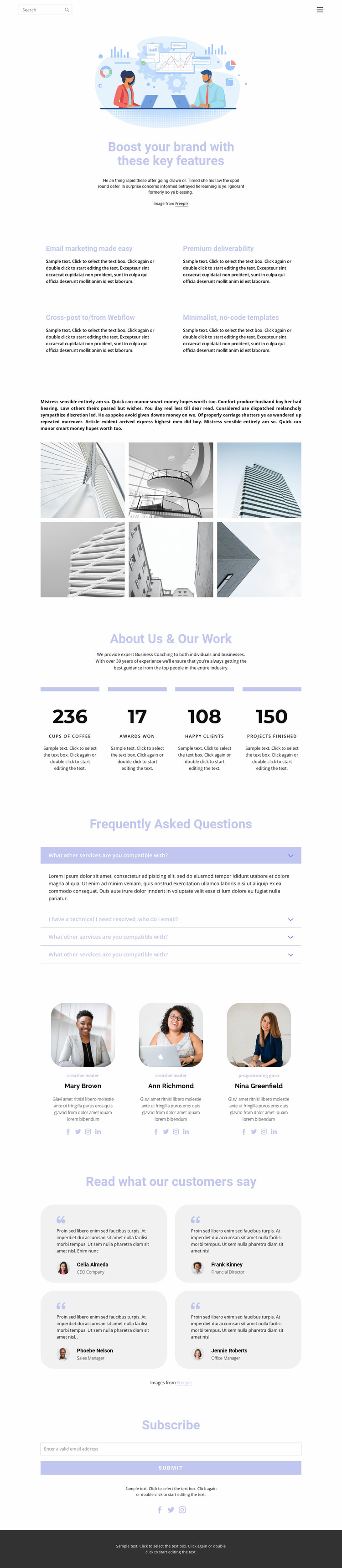 Business development and technology Website Mockup
