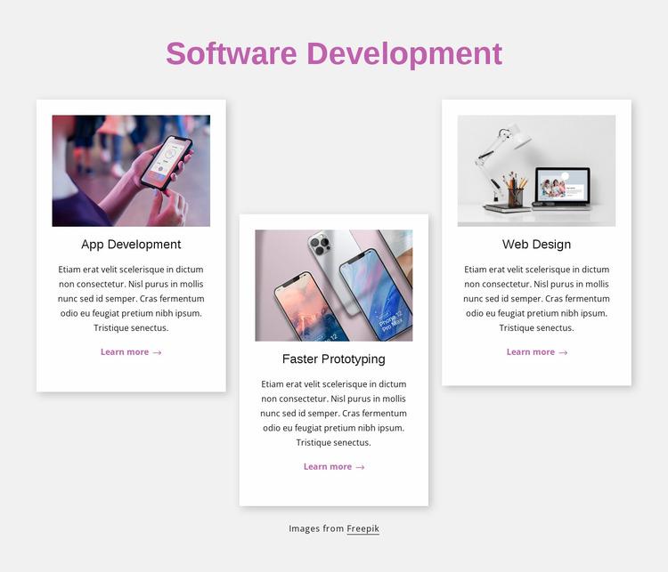 Software development engineering Website Mockup