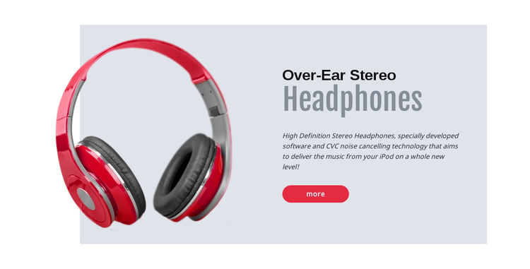Stereo headphones One Page Template