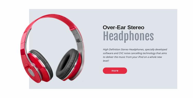 Stereo headphones WordPress Website Builder