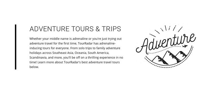 Text adventure tours trips Homepage Design