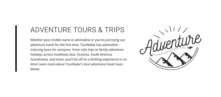 Text adventure tours trips One Page Template