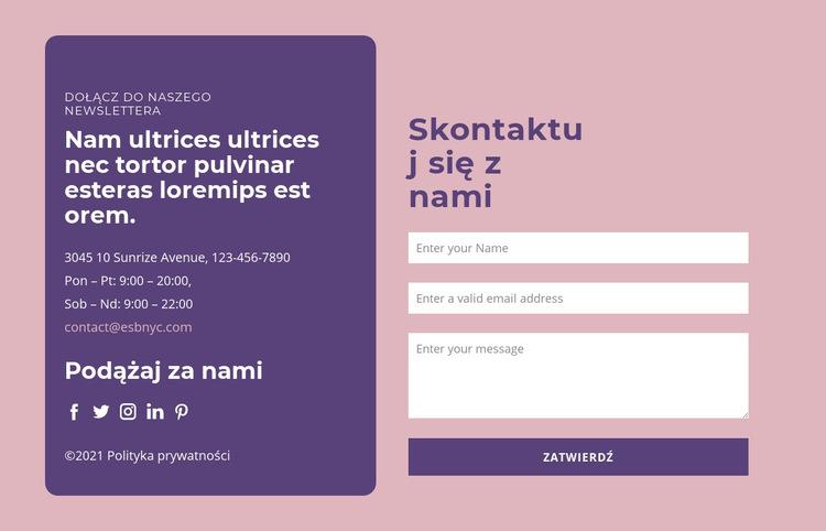 Formularz kontaktowy i grupa tekstowa Szablon witryny sieci Web
