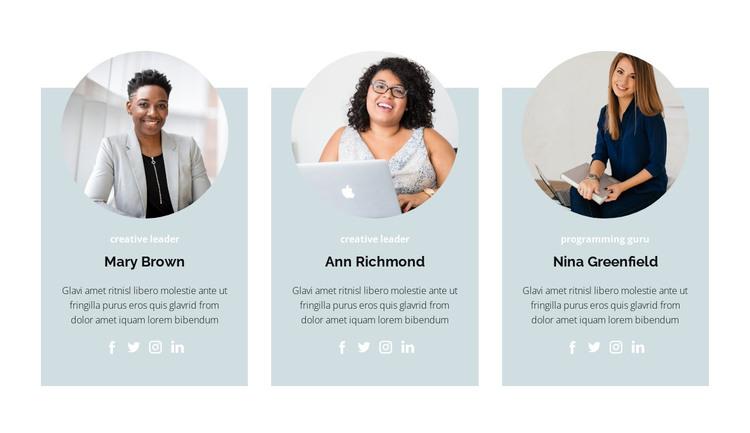Three members HTML Template