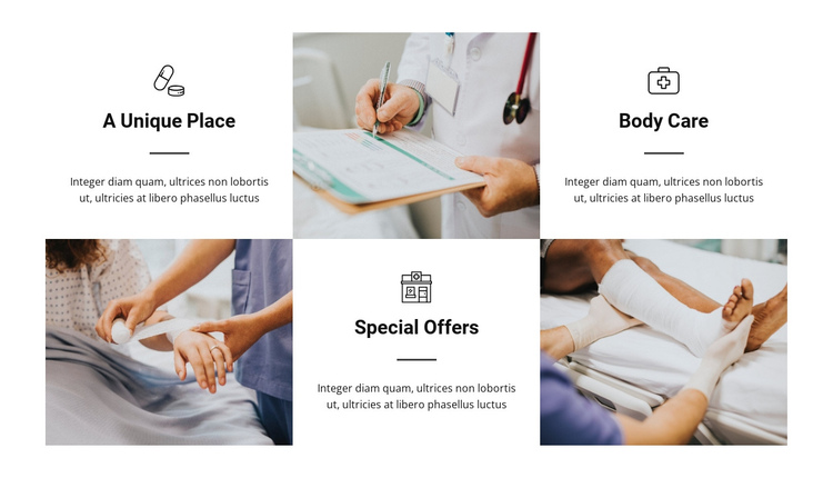 The advantages of our hospital One Page Template