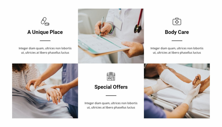 The advantages of our hospital Website Mockup