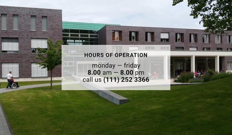 Hours of operation Html Website Builder
