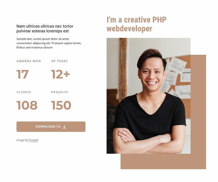 PHP developer Website Mockup