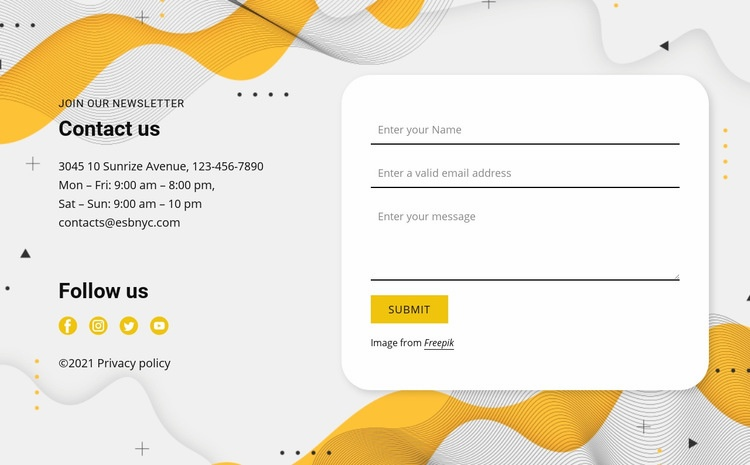 Contacts and form Html Code Example
