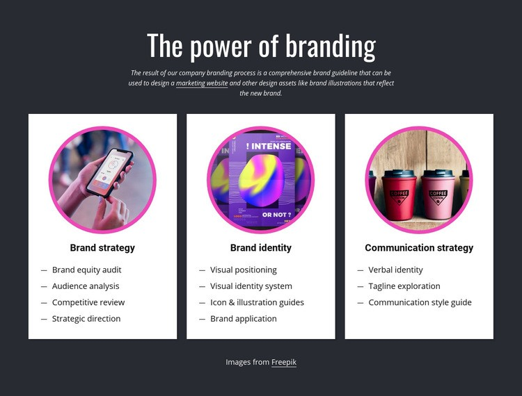 The power of branding Html Code Example