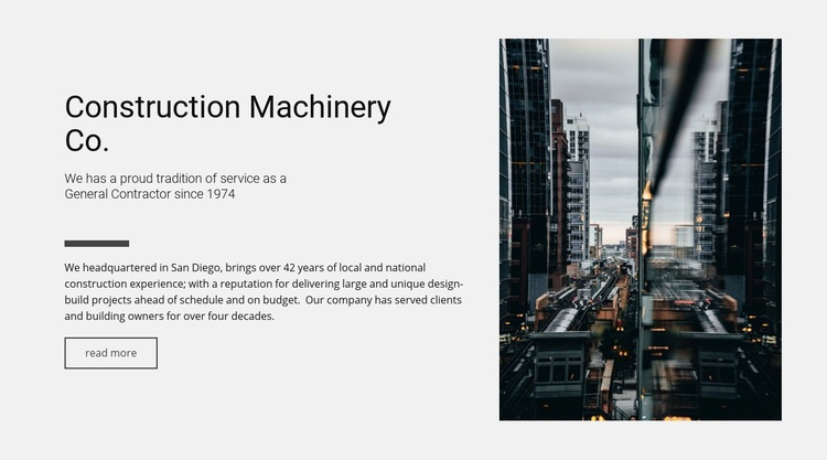 Construction machinery Co. Html Code Example