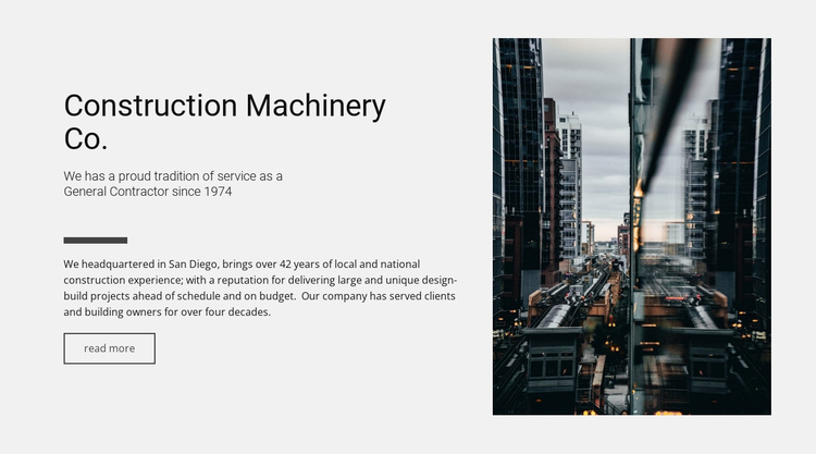 Construction machinery Co. Website Template