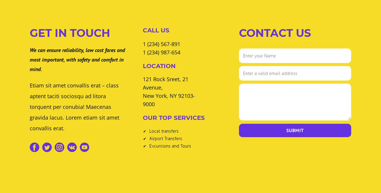 Classic contact us block HTML Template