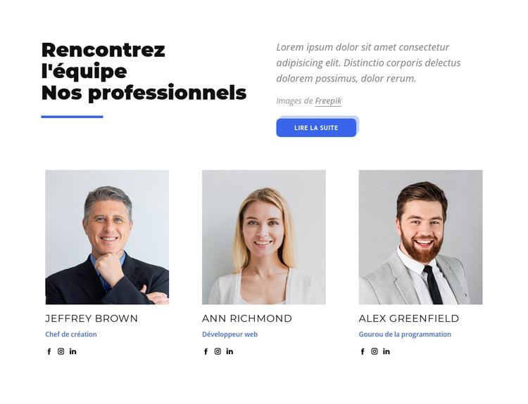 Rencontrez l'équipe de nos professionnels Modèle de site Web