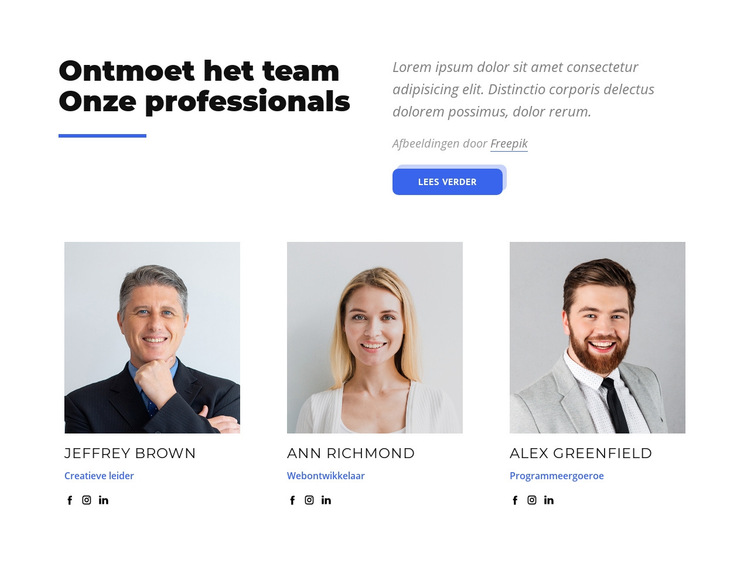 Ontmoet het team van onze professionals our Website sjabloon