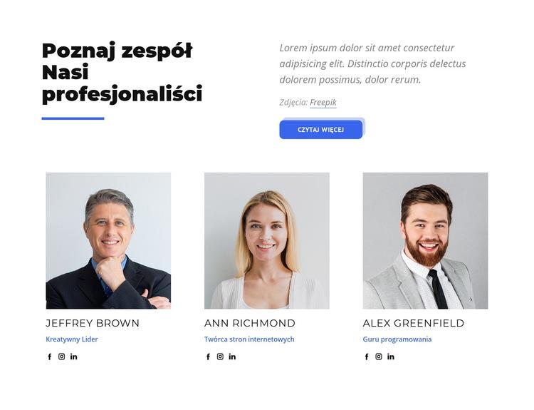 Poznaj zespół naszych profesjonalistów Szablon witryny sieci Web