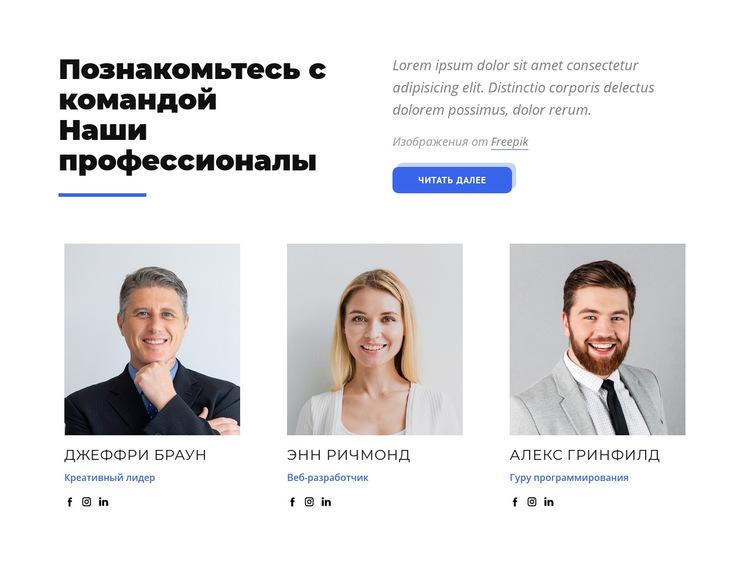 Познакомьтесь с командой наших профессионалов Шаблон веб-сайта