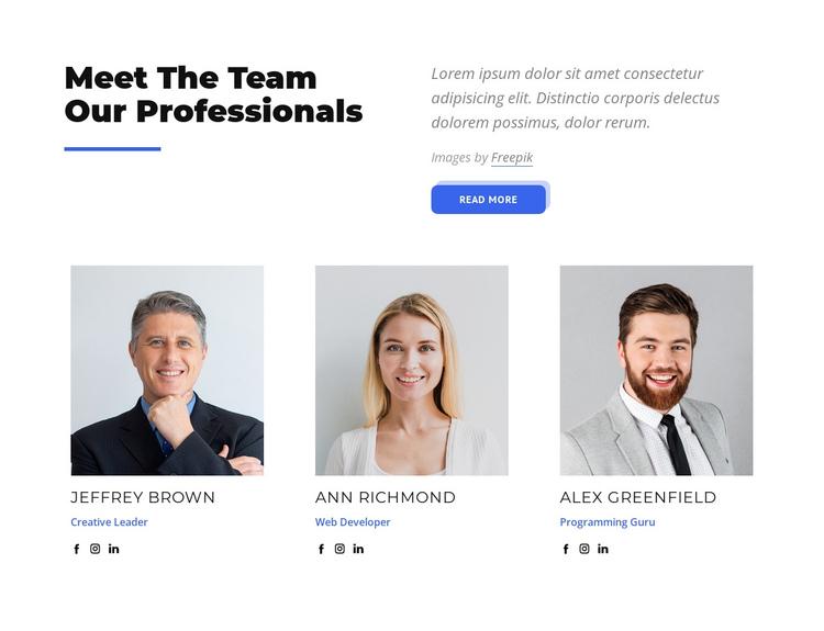 Meet the team our professionals Website Builder Software