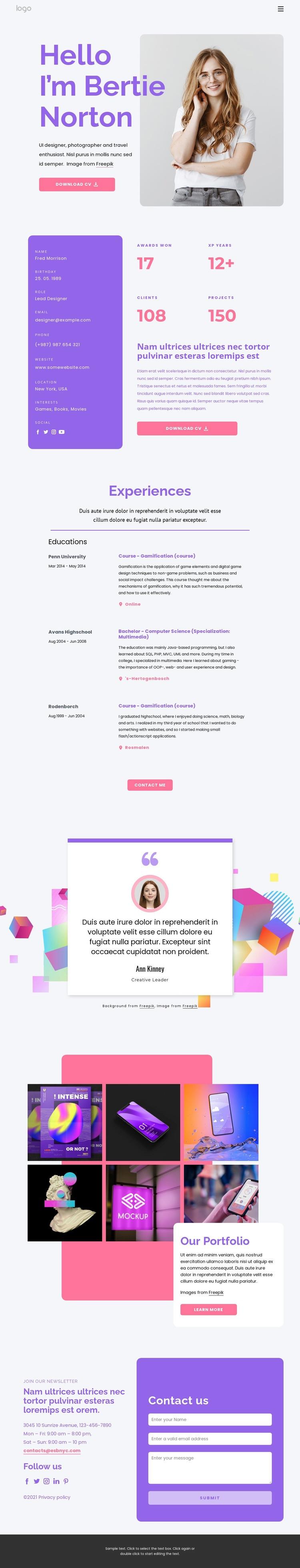Personal website Web Page Designer