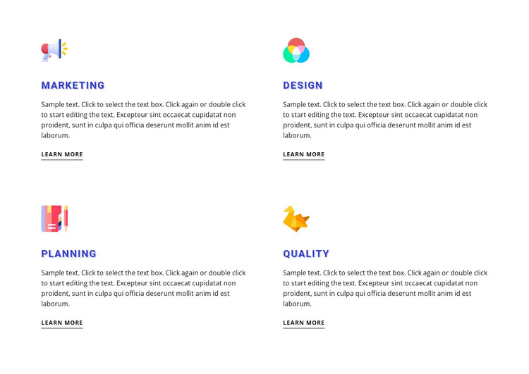 Features with colored icons WordPress Theme