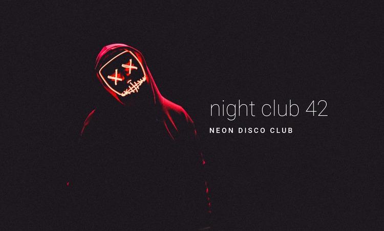 Neon night club Website Mockup
