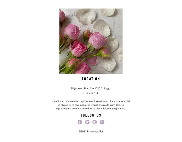 Flowers studio contact HTML Template