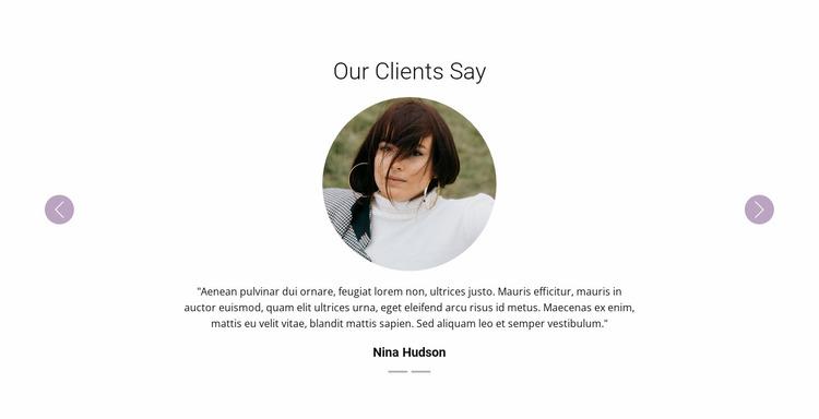 Slider with testimonials Website Mockup