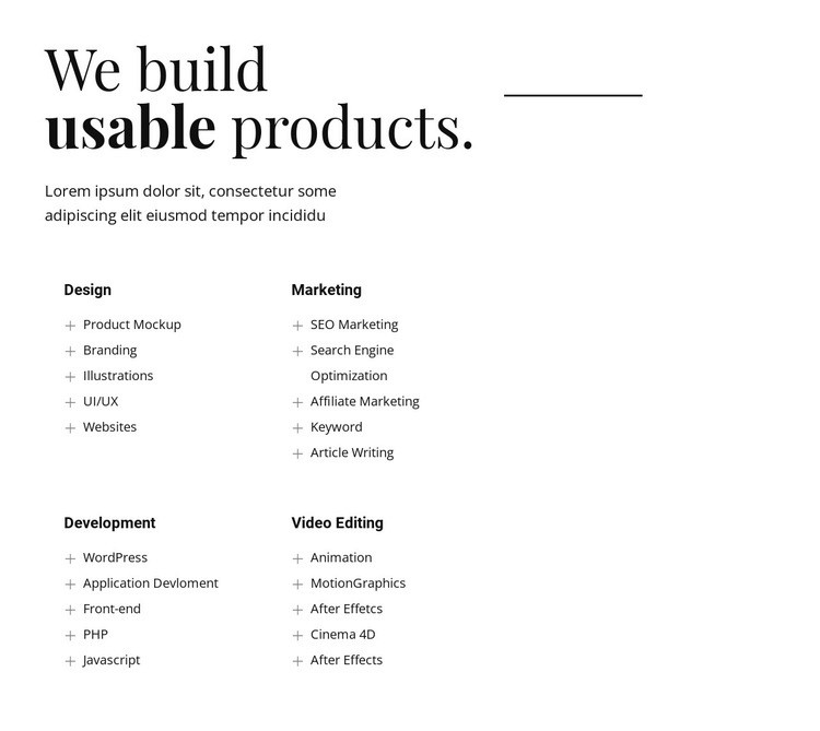 We build usable products Html Code Example